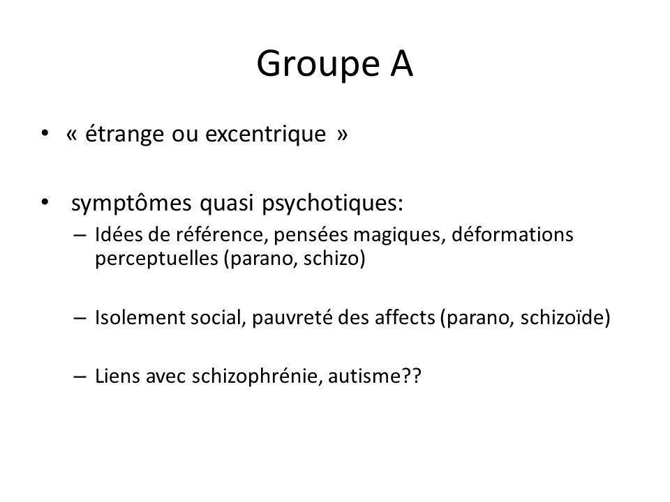 Groupe A « étrange ou excentrique » symptômes quasi psychotiques: – Idées de référence, pensées magiques, déformations perceptuelles (parano, schizo)