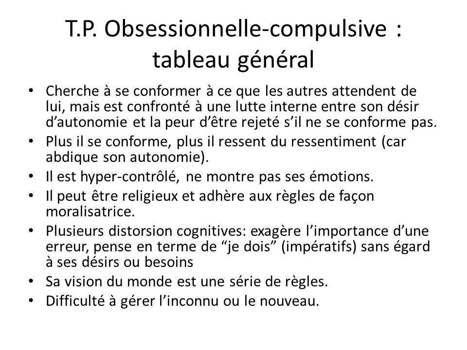 T.P. Obsessionnelle-compulsive : tableau général Cherche à se conformer à ce que les autres attendent de lui, mais est confronté à une lutte interne e