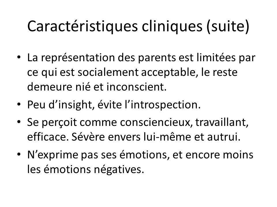 Caractéristiques cliniques (suite) La représentation des parents est limitées par ce qui est socialement acceptable, le reste demeure nié et inconscie