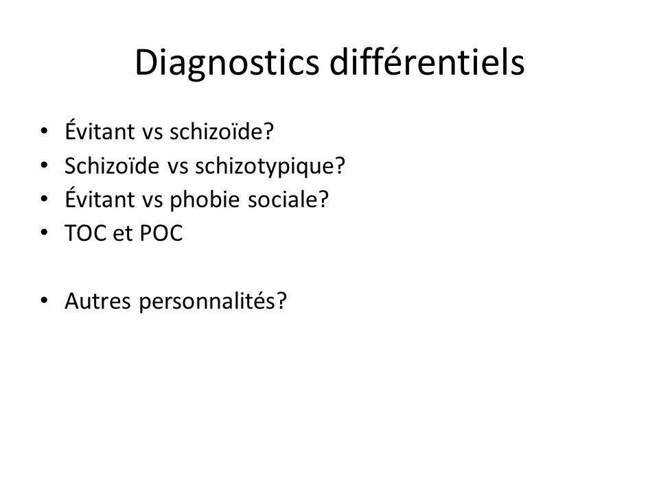 Diagnostics différentiels Évitant vs schizoïde? Schizoïde vs schizotypique? Évitant vs phobie sociale? TOC et POC Autres personnalités?