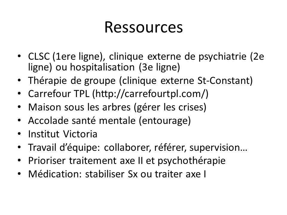 Ressources CLSC (1ere ligne), clinique externe de psychiatrie (2e ligne) ou hospitalisation (3e ligne) Thérapie de groupe (clinique externe St-Constan