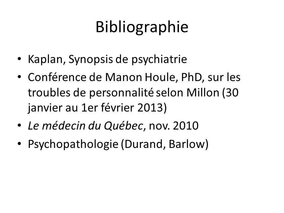 Bibliographie Kaplan, Synopsis de psychiatrie Conférence de Manon Houle, PhD, sur les troubles de personnalité selon Millon (30 janvier au 1er février