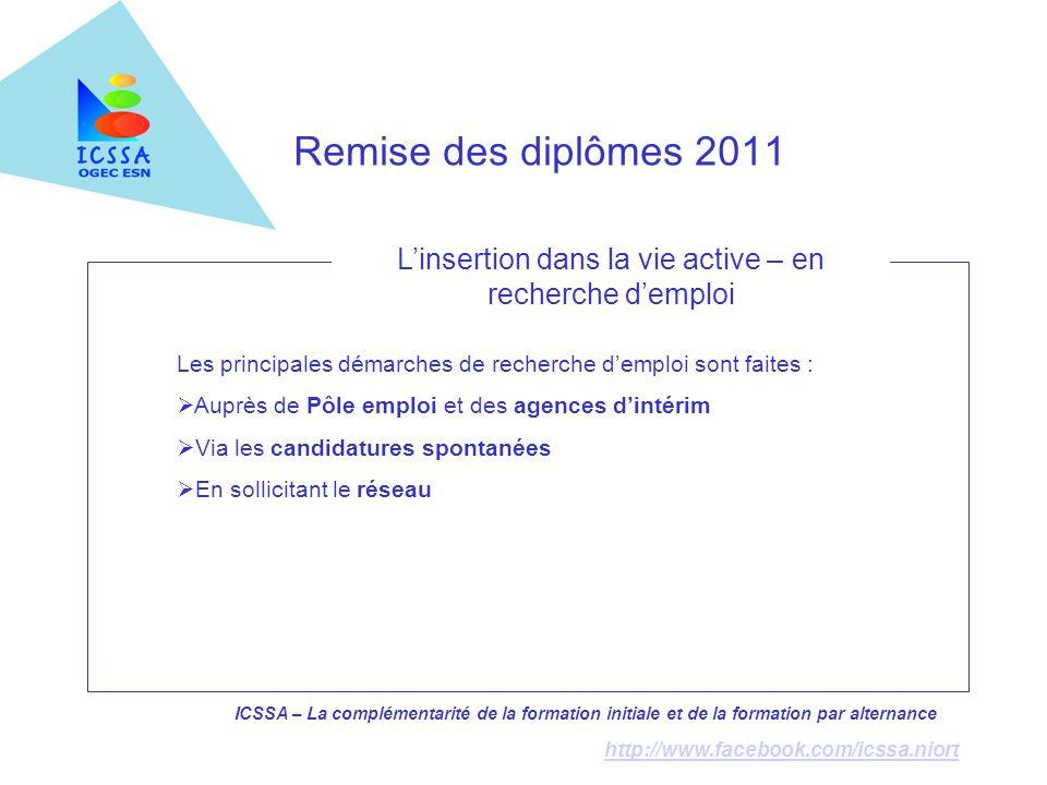 ICSSA – La complémentarité de la formation initiale et de la formation par alternance http://www.facebook.com/icssa.niort Remise des diplômes 2011 Les