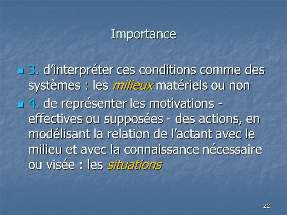22 Importance 3. dinterpréter ces conditions comme des systèmes : les milieux matériels ou non 3. dinterpréter ces conditions comme des systèmes : les