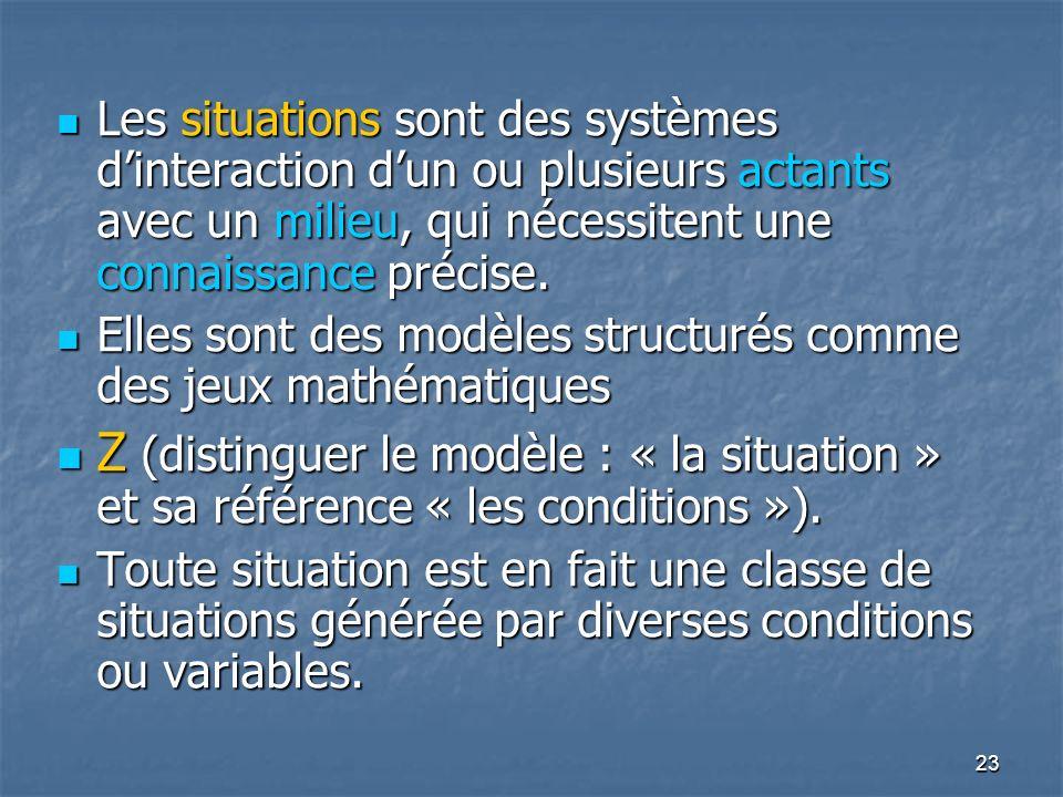 23 Les situations sont des systèmes dinteraction dun ou plusieurs actants avec un milieu, qui nécessitent une connaissance précise. Les situations son