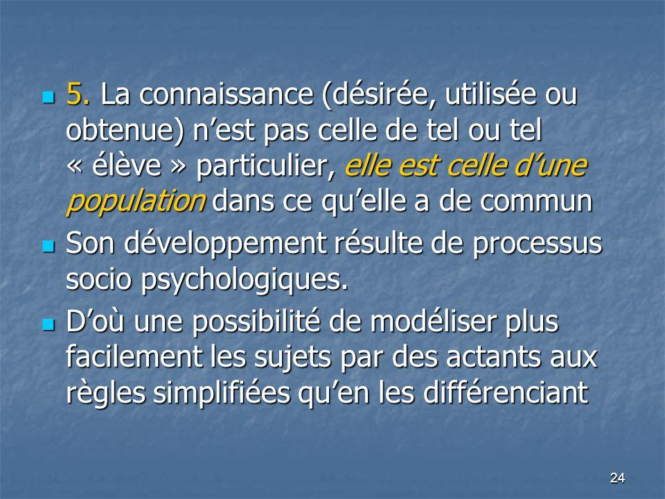 24 5. La connaissance (désirée, utilisée ou obtenue) nest pas celle de tel ou tel « élève » particulier, elle est celle dune population dans ce quelle