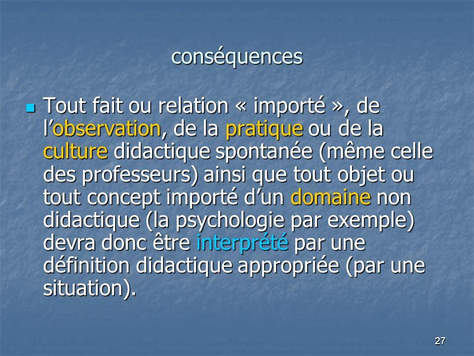 27 conséquences Tout fait ou relation « importé », de lobservation, de la pratique ou de la culture didactique spontanée (même celle des professeurs)