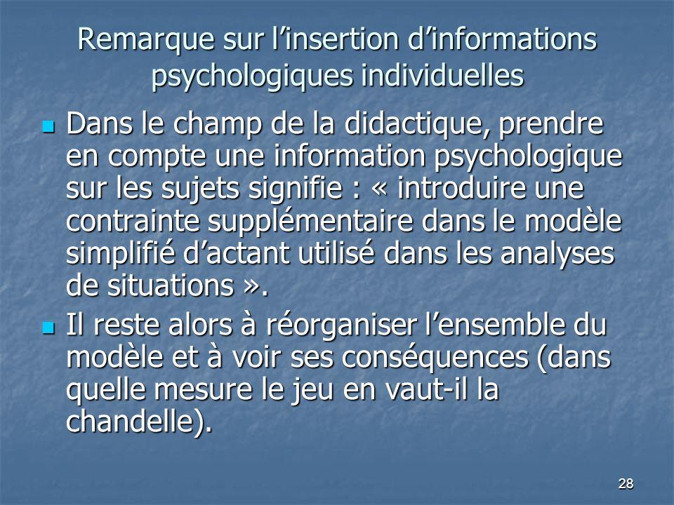 28 Remarque sur linsertion dinformations psychologiques individuelles Dans le champ de la didactique, prendre en compte une information psychologique