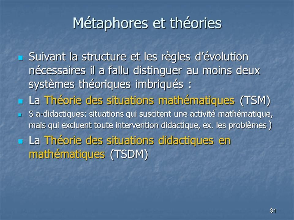 31 Métaphores et théories Suivant la structure et les règles dévolution nécessaires il a fallu distinguer au moins deux systèmes théoriques imbriqués