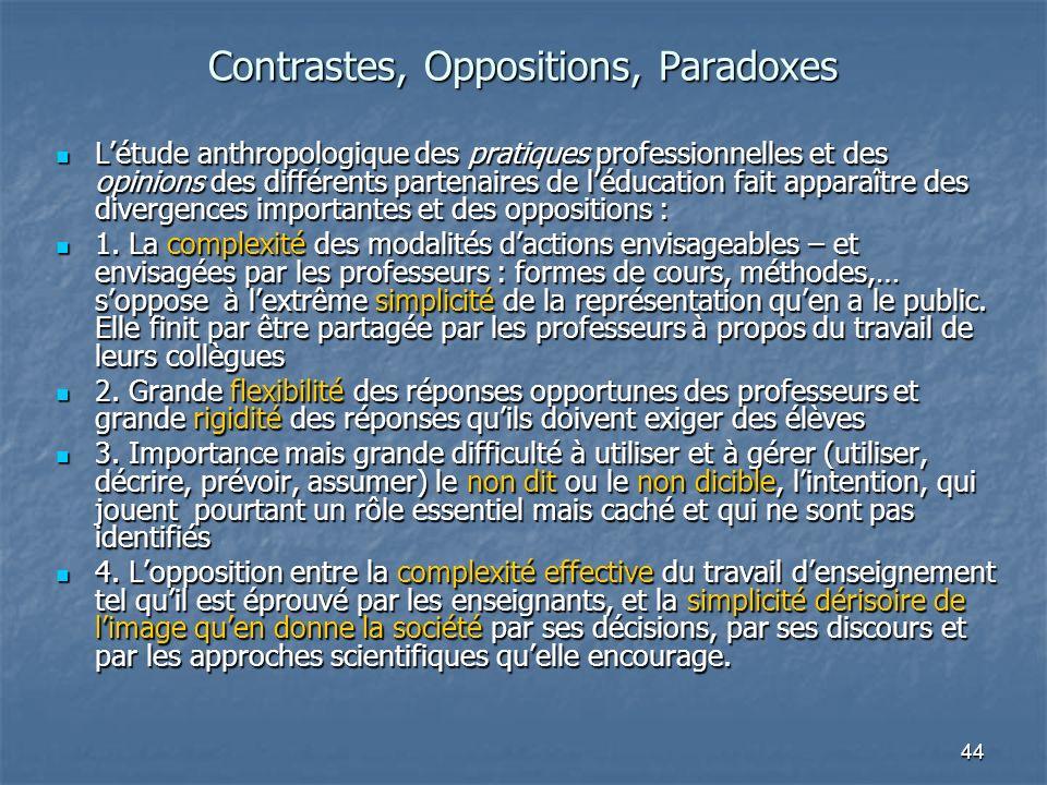 44 Contrastes, Oppositions, Paradoxes Létude anthropologique des pratiques professionnelles et des opinions des différents partenaires de léducation f