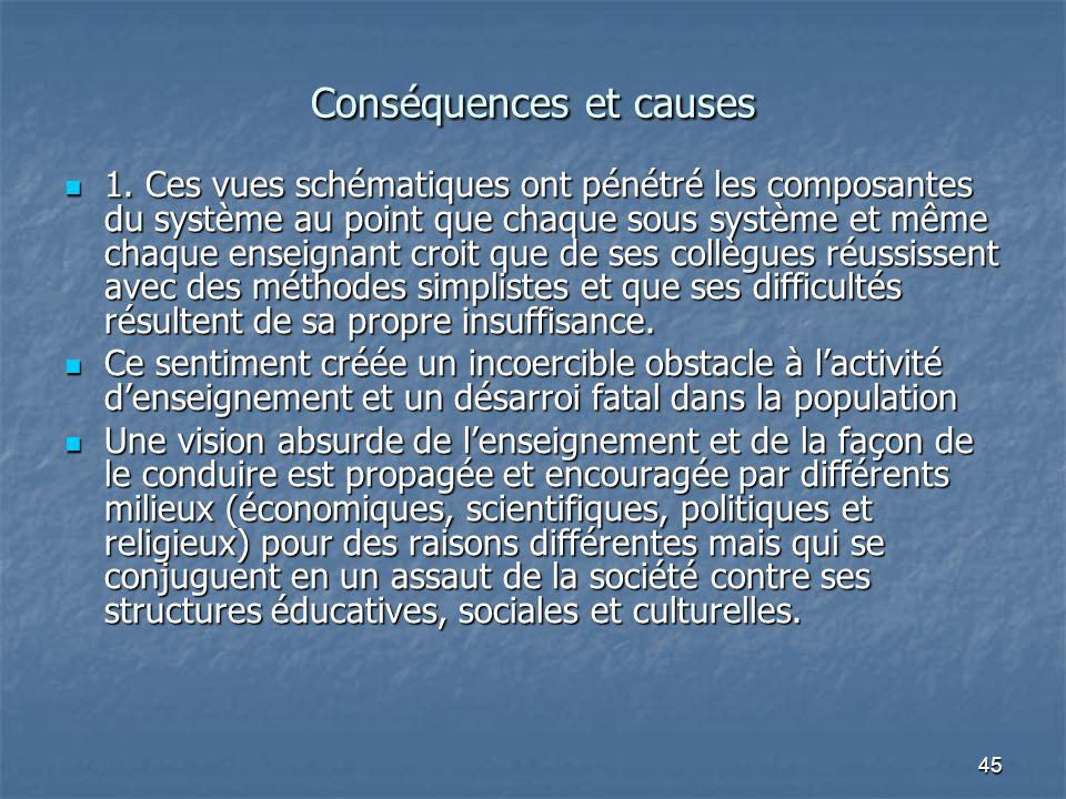 45 Conséquences et causes 1. Ces vues schématiques ont pénétré les composantes du système au point que chaque sous système et même chaque enseignant c