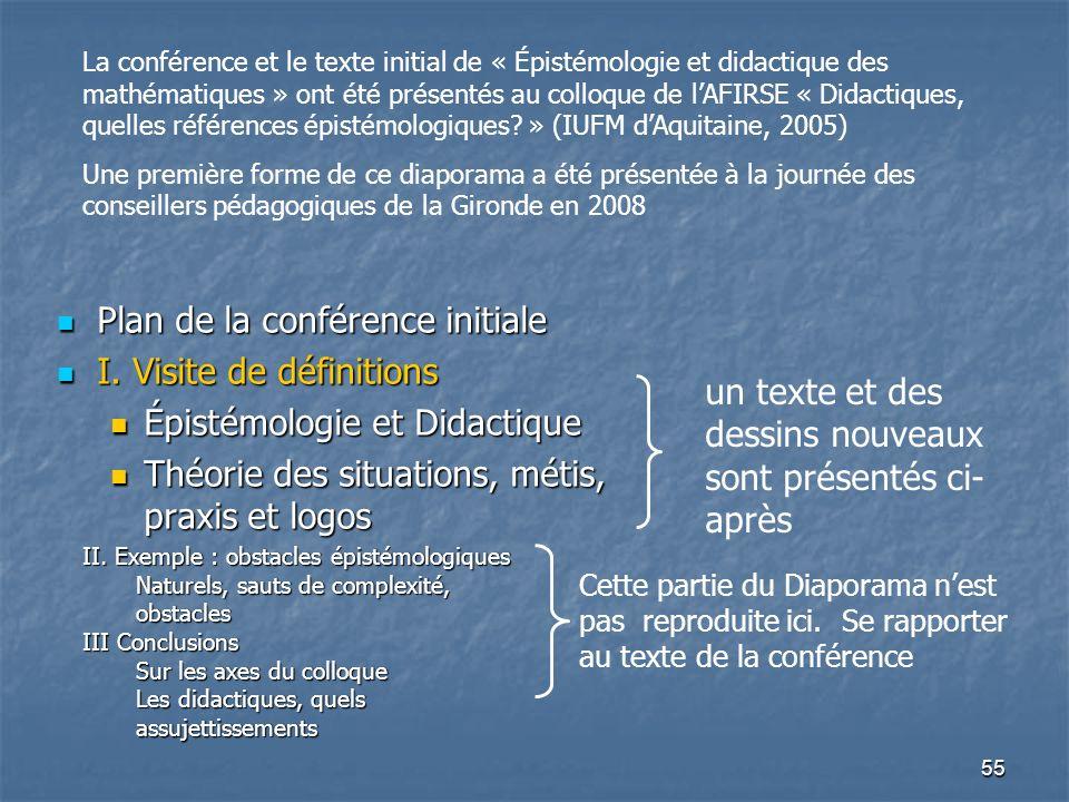 55 Plan de la conférence initiale Plan de la conférence initiale I. Visite de définitions I. Visite de définitions Épistémologie et Didactique Épistém
