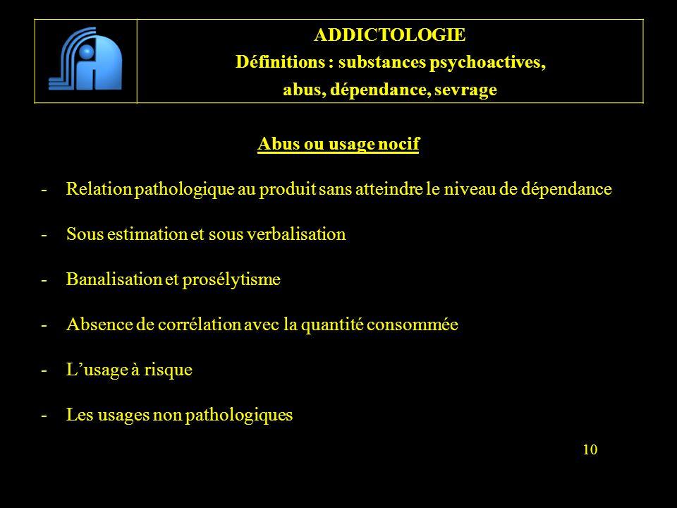 Abus ou usage nocif -Relation pathologique au produit sans atteindre le niveau de dépendance -Sous estimation et sous verbalisation -Banalisation et p