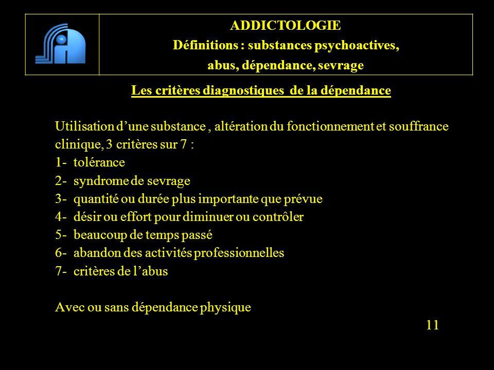 Les critères diagnostiques de la dépendance Utilisation dune substance, altération du fonctionnement et souffrance clinique, 3 critères sur 7 : 1- tol