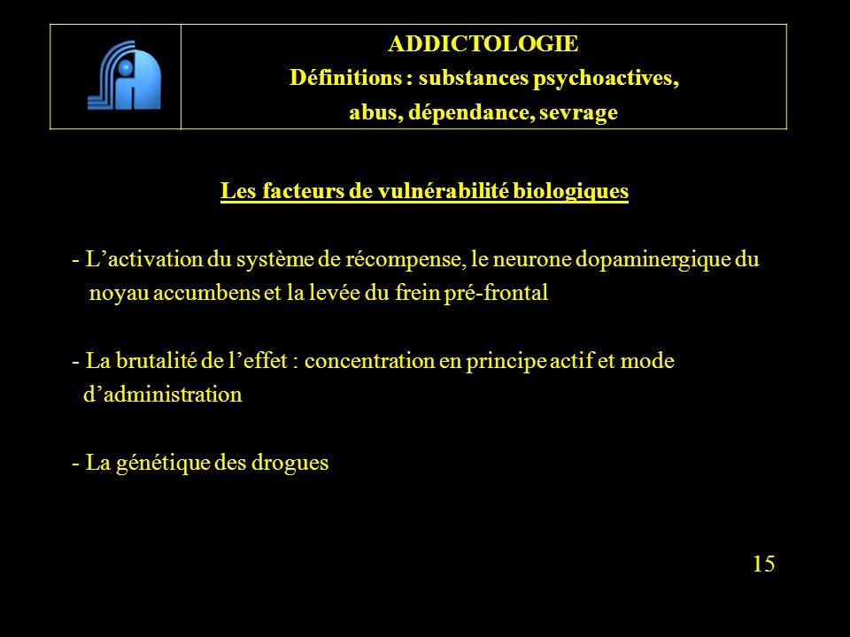 Les facteurs de vulnérabilité biologiques - Lactivation du système de récompense, le neurone dopaminergique du noyau accumbens et la levée du frein pr
