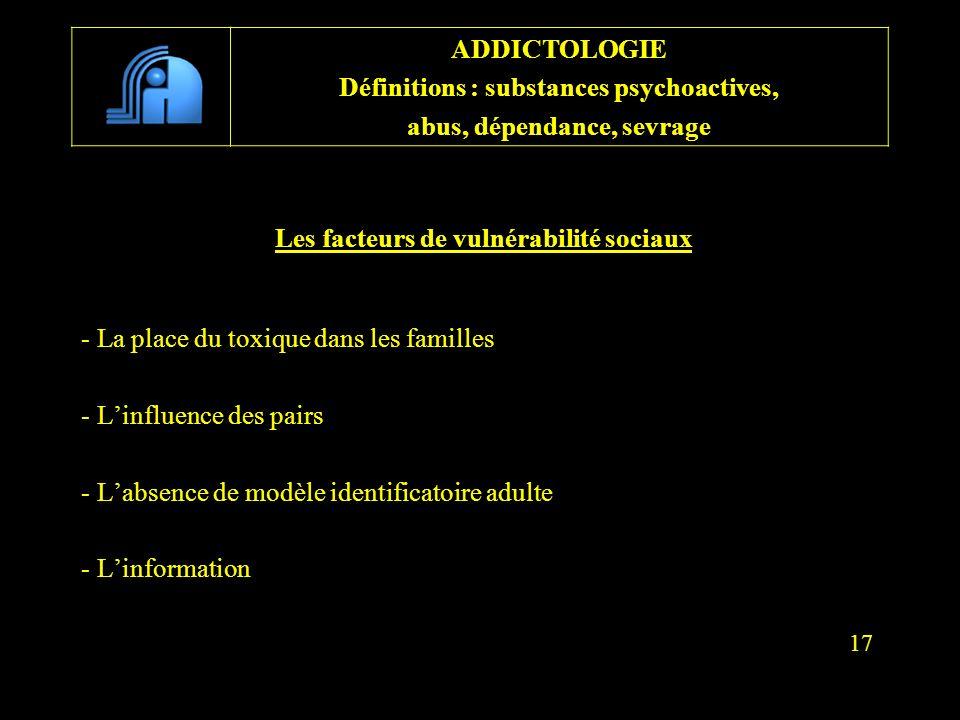 Les facteurs de vulnérabilité sociaux - La place du toxique dans les familles - Linfluence des pairs - Labsence de modèle identificatoire adulte - Lin