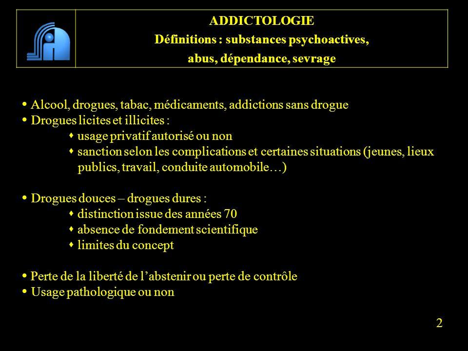Alcool, drogues, tabac, médicaments, addictions sans drogue Drogues licites et illicites : usage privatif autorisé ou non sanction selon les complicat