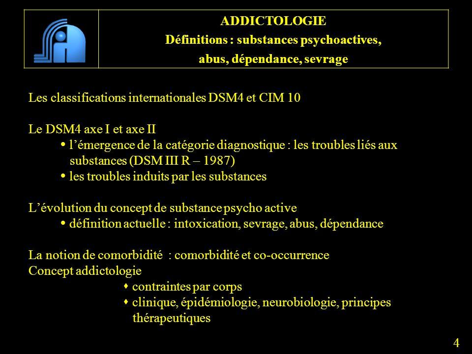 Les classifications internationales DSM4 et CIM 10 Le DSM4 axe I et axe II lémergence de la catégorie diagnostique : les troubles liés aux substances
