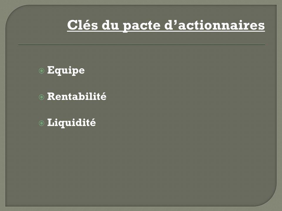 Clés du pacte dactionnaires Equipe Rentabilité Liquidité