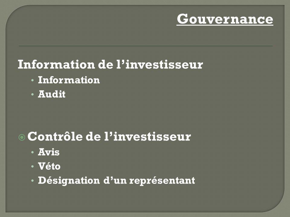 Gouvernance Information de linvestisseur Information Audit Contrôle de linvestisseur Avis Véto Désignation dun représentant