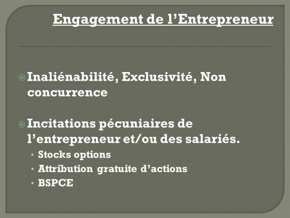 Engagement de lEntrepreneur Inaliénabilité, Exclusivité, Non concurrence Incitations pécuniaires de lentrepreneur et/ou des salariés. Stocks options A