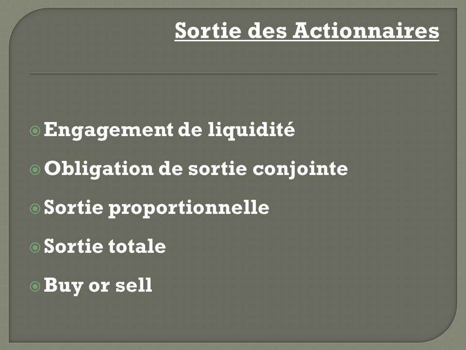 Engagement de liquidité Obligation de sortie conjointe Sortie proportionnelle Sortie totale Buy or sell Sortie des Actionnaires