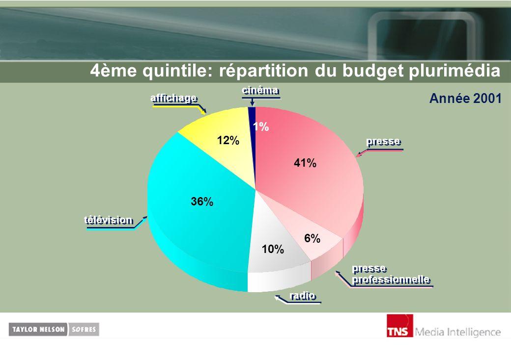 4ème quintile: répartition du budget plurimédia Année 2001 cinéma 1% 12% 36% 10% 6% 41% presse presse professionnelle radio télévision affichage