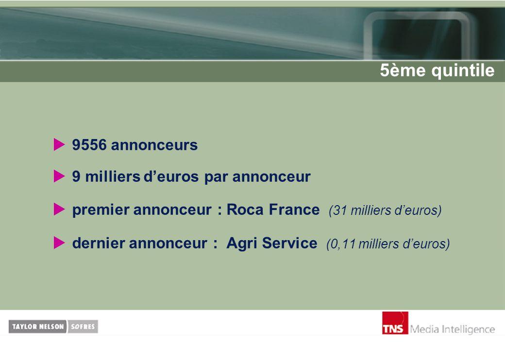 9556 annonceurs 9 milliers deuros par annonceur premier annonceur : Roca France (31 milliers deuros) dernier annonceur : Agri Service (0,11 milliers d