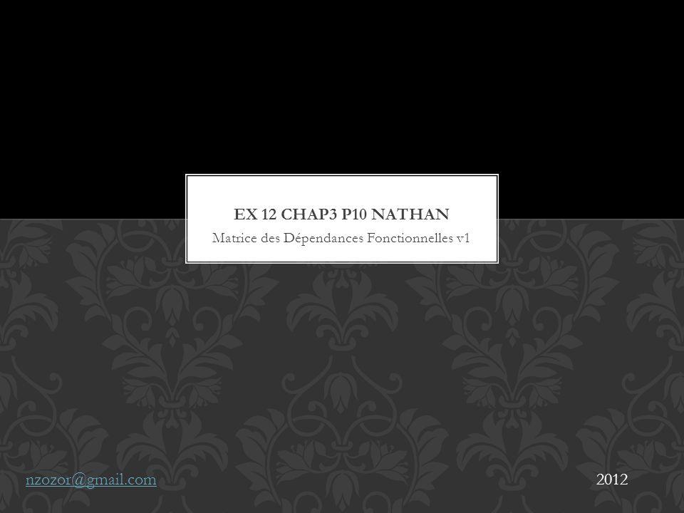 Matrice des Dépendances Fonctionnelles v1 nzozor@gmail.com2012