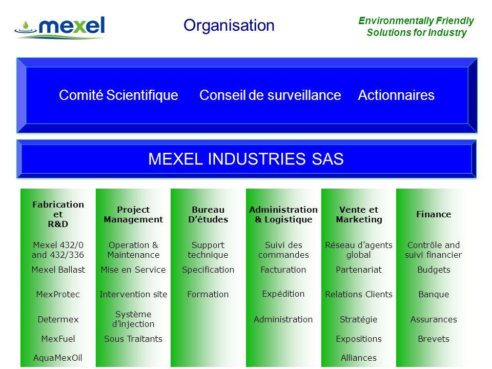 6 MEXEL Industries SAS, Usine de Verberie, 30mn de Paris: - 5,000 m2 + espace de stockage - 1 x laboratoire totalement équipé - 5 x cuves de 2 à 40 m3 - 1 x unité de fabrication démulsions en continu de 2.5 tonnes / heure + rechanges - 1 x unité de fabrication démulsions en continu de 150 litres / heure - 2 x unité de fabrication de produits chimiques de 5 à 60 tonnes - 3 x réacteurs avec pompes et agitateurs: 1m3, 2.5m3 et 2x8m3 - 1 x unité de fabrication doligo-éléments - 1 x chambre chauffée pour 80 tonnes de produits - 1 x ligne de conditionnement automatisée de 1 à 60 litres - 1 x unité demballage Installation et Equipements Environmentally Friendly Solutions for Industry www.mexel.fr