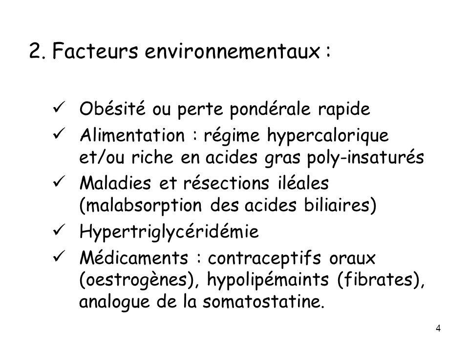 4 2. Facteurs environnementaux : Obésité ou perte pondérale rapide Alimentation : régime hypercalorique et/ou riche en acides gras poly-insaturés Mala