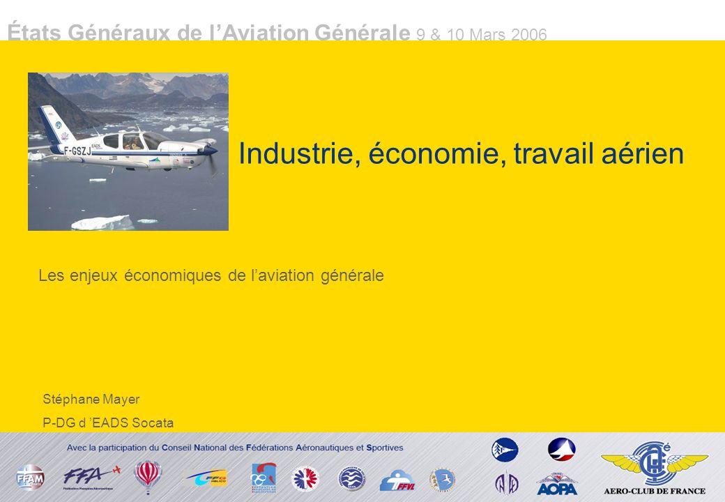 États Généraux de lAviation Générale 9 & 10 Mars 2006 Industrie, économie, travail aérien Les enjeux économiques de laviation générale Stéphane Mayer