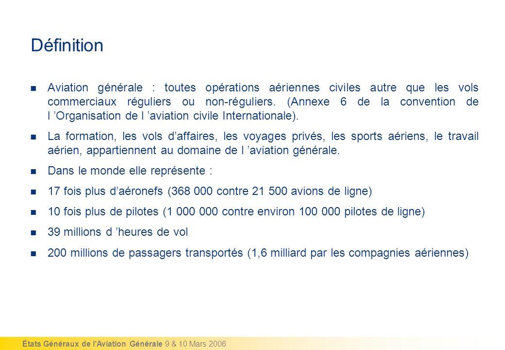 États Généraux de lAviation Générale 9 & 10 Mars 2006 Définition Aviation générale : toutes opérations aériennes civiles autre que les vols commerciau