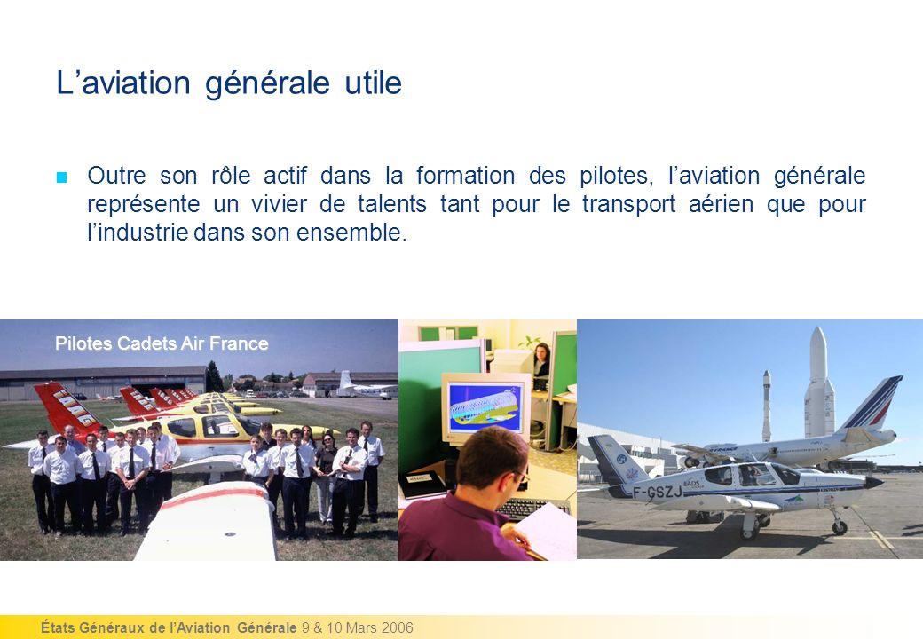 États Généraux de lAviation Générale 9 & 10 Mars 2006 Laviation générale utile Outre son rôle actif dans la formation des pilotes, laviation générale