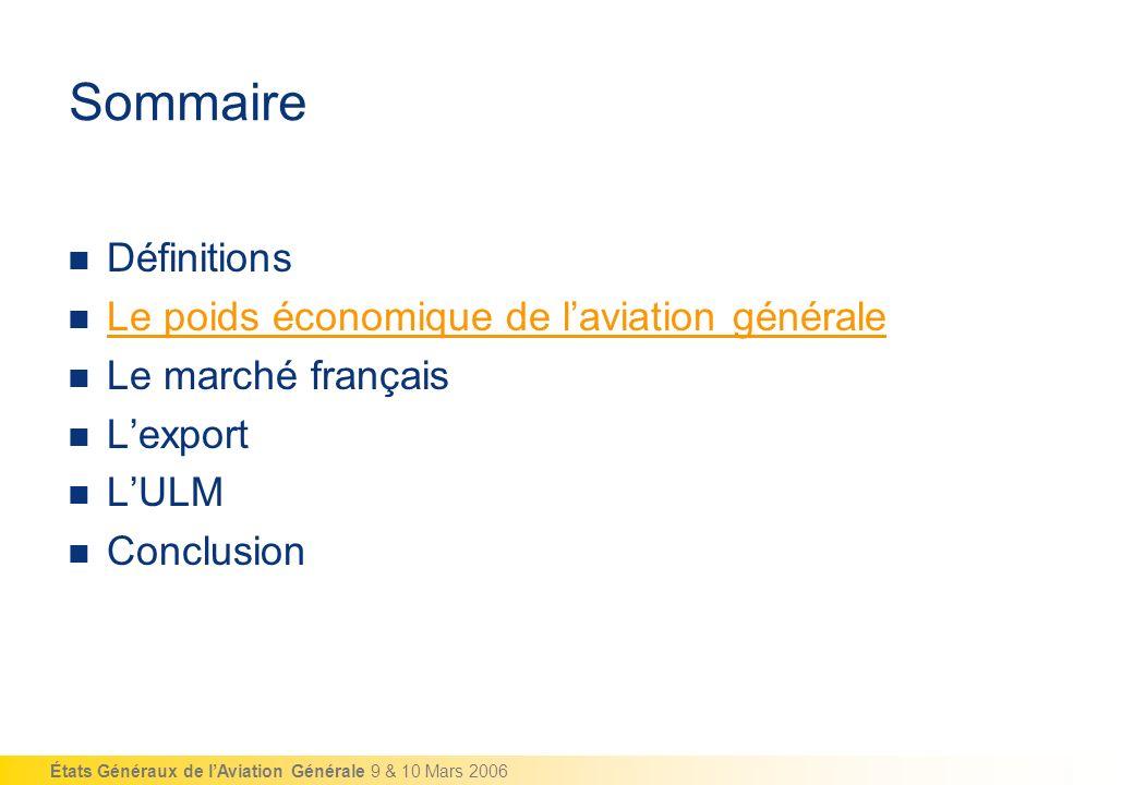 États Généraux de lAviation Générale 9 & 10 Mars 2006 Sommaire Définitions Le poids économique de laviation générale Le marché français Lexport LULM C
