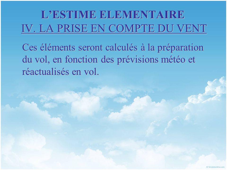 LESTIME ELEMENTAIRE IV. LA PRISE EN COMPTE DU VENT Ces éléments seront calculés à la préparation du vol, en fonction des prévisions météo et réactuali
