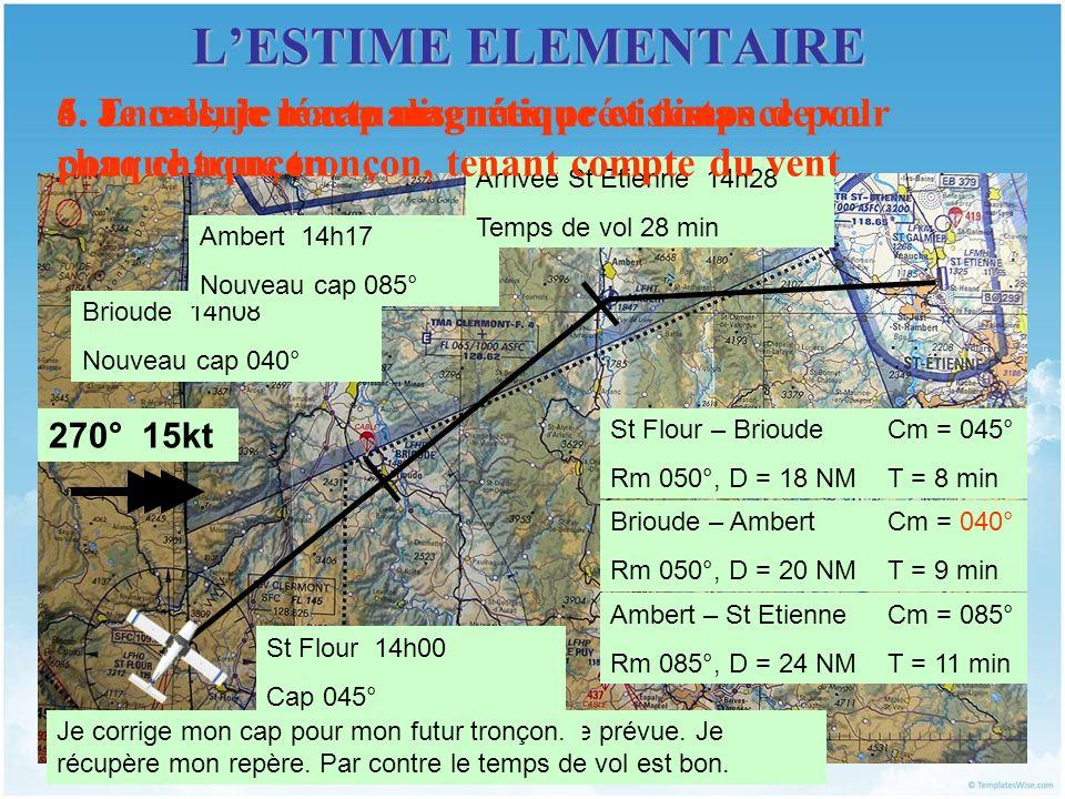 LESTIME ELEMENTAIRE 4. Je mesure route magnétique et distance pour chaque tronçon St Flour – Brioude Rm 050°, D = 18 NM Brioude – Ambert Rm 050°, D =