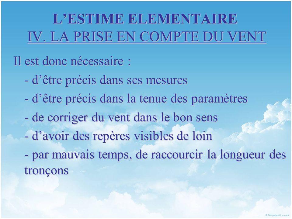 LESTIME ELEMENTAIRE IV. LA PRISE EN COMPTE DU VENT Il est donc nécessaire : - dêtre précis dans ses mesures - dêtre précis dans la tenue des paramètre