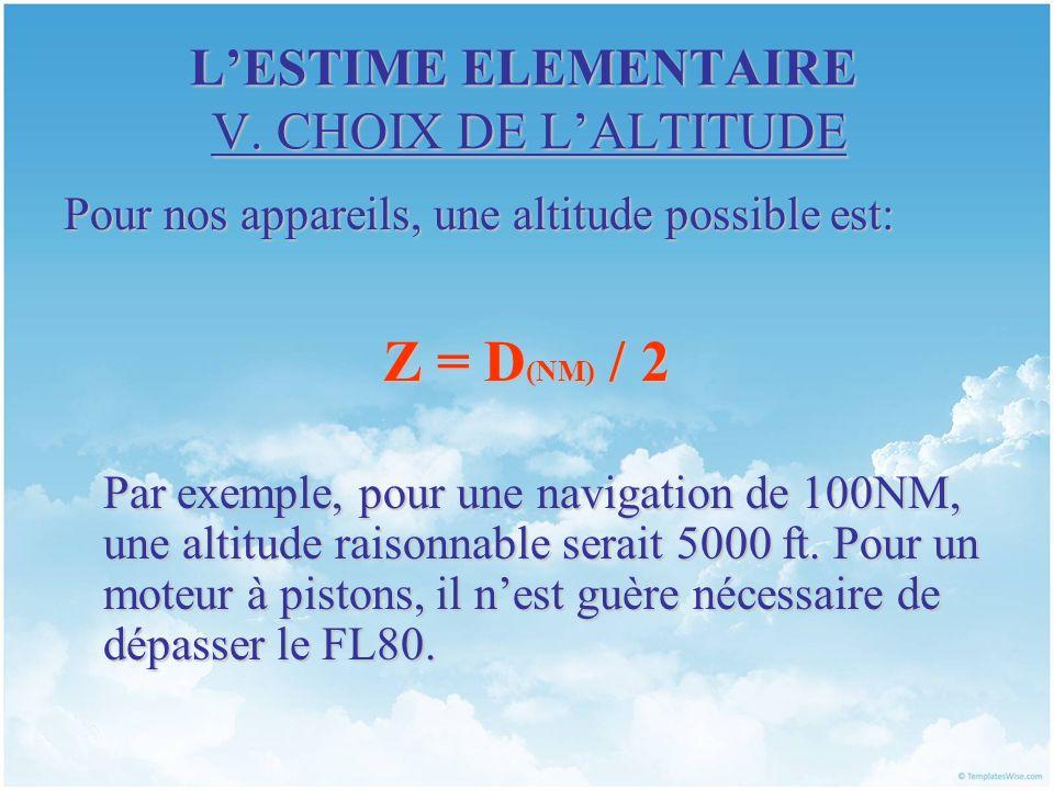 LESTIME ELEMENTAIRE V. CHOIX DE LALTITUDE Pour nos appareils, une altitude possible est: Z = D (NM) / 2 Par exemple, pour une navigation de 100NM, une