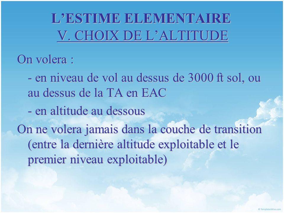LESTIME ELEMENTAIRE V. CHOIX DE LALTITUDE On volera : - en niveau de vol au dessus de 3000 ft sol, ou au dessus de la TA en EAC - en altitude au desso