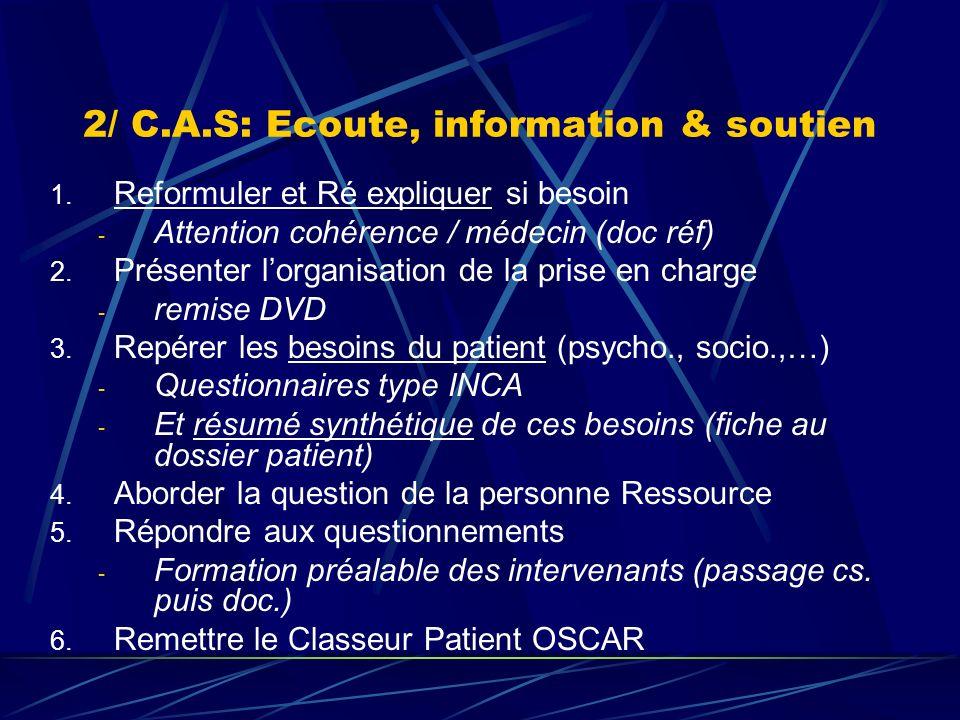 2/ C.A.S: Ecoute, information & soutien 1. Reformuler et Ré expliquer si besoin - Attention cohérence / médecin (doc réf) 2. Présenter lorganisation d