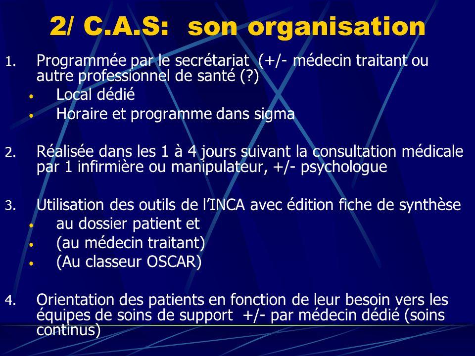 2/ C.A.S: son organisation 1. Programmée par le secrétariat (+/- médecin traitant ou autre professionnel de santé (?) Local dédié Horaire et programme
