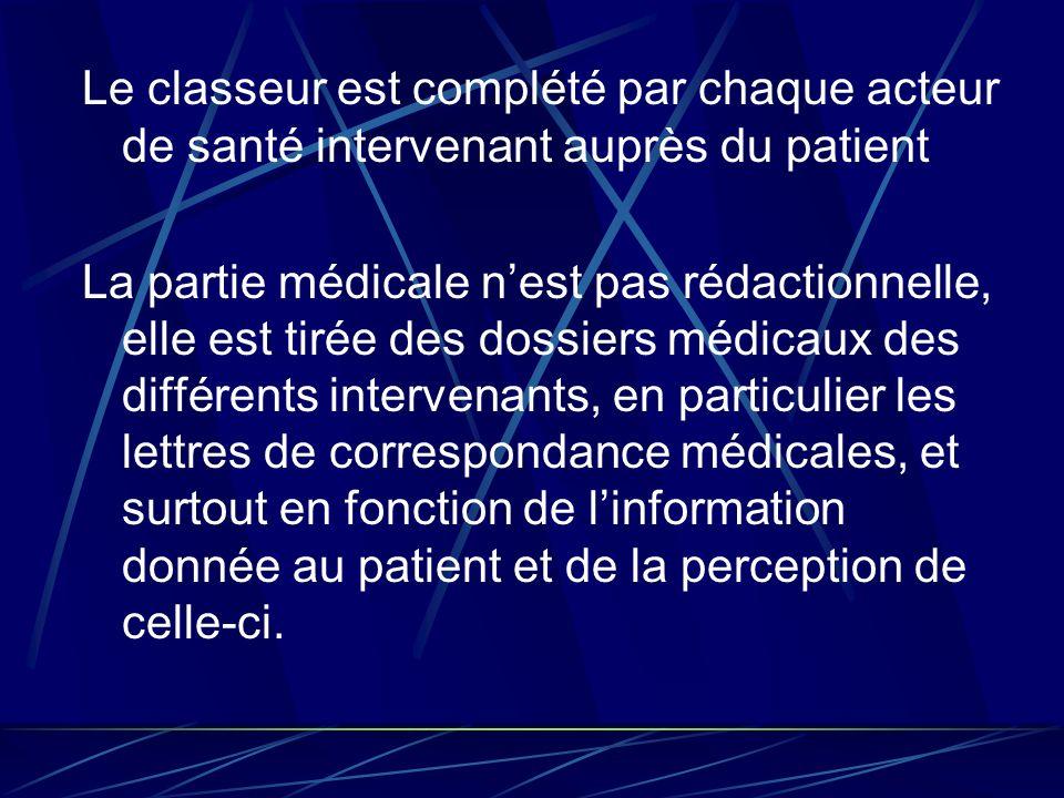 Le classeur est complété par chaque acteur de santé intervenant auprès du patient La partie médicale nest pas rédactionnelle, elle est tirée des dossi