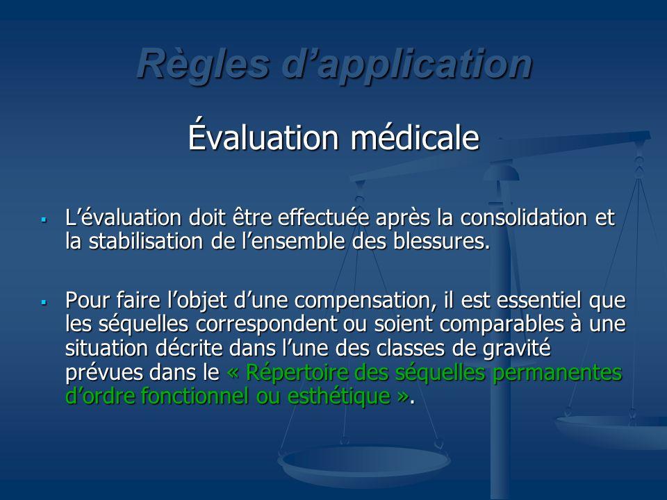 Règles dapplication Évaluation médicale Lévaluation doit être effectuée après la consolidation et la stabilisation de lensemble des blessures. Lévalua