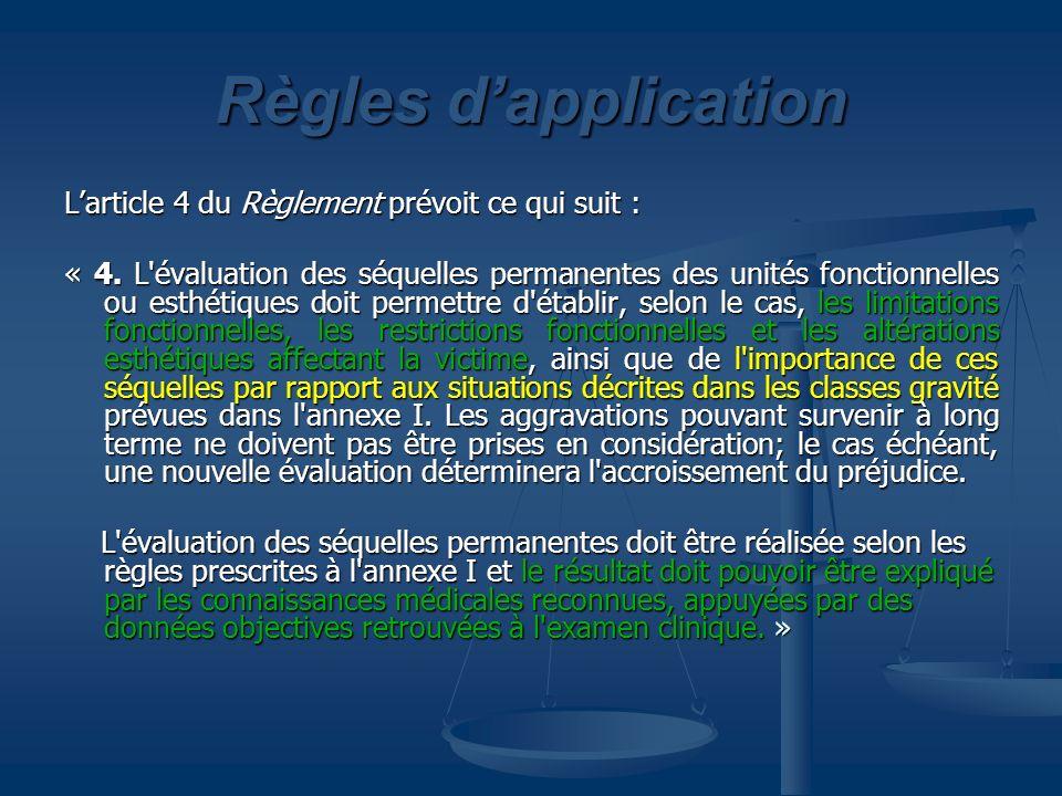Règles dapplication Larticle 4 du Règlement prévoit ce qui suit : « 4. L'évaluation des séquelles permanentes des unités fonctionnelles ou esthétiques