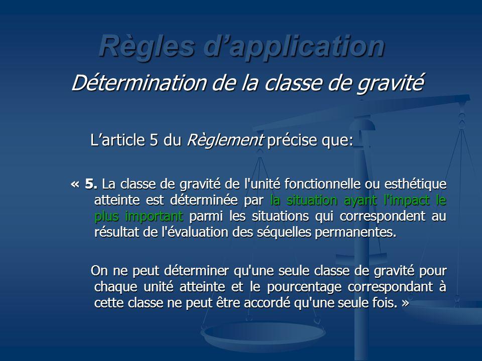 Règles dapplication Détermination de la classe de gravité Larticle 5 du Règlement précise que: Larticle 5 du Règlement précise que: « 5. La classe de