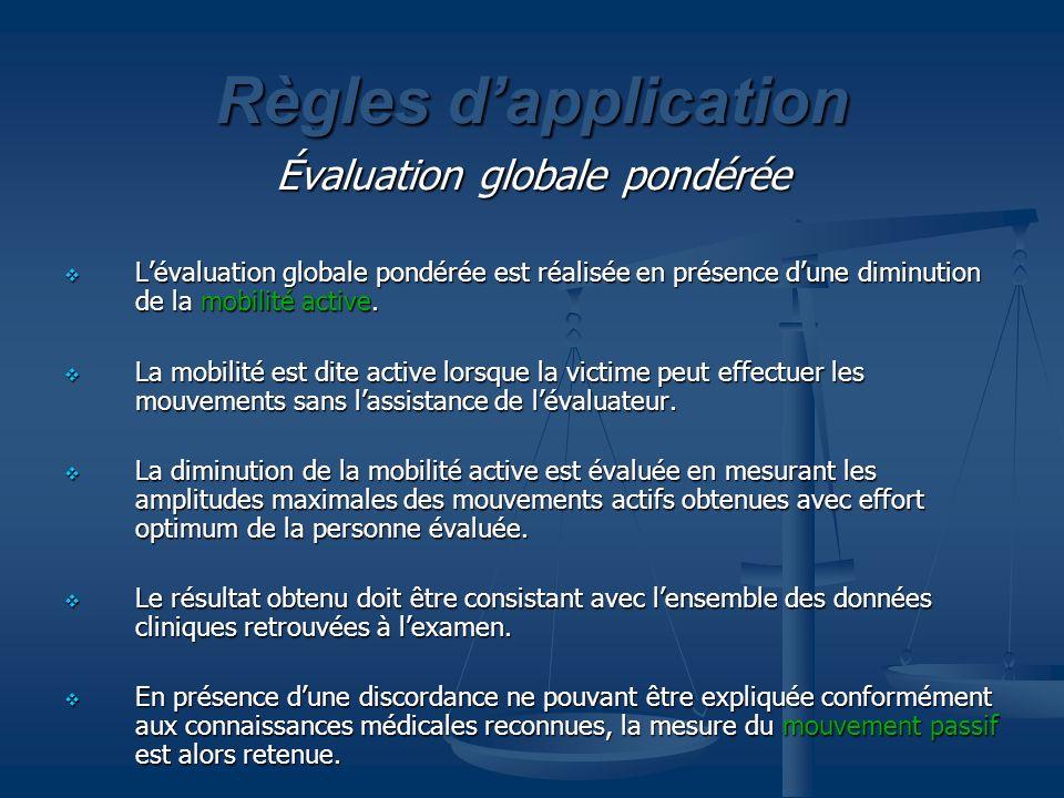 Règles dapplication Évaluation globale pondérée Lévaluation globale pondérée est réalisée en présence dune diminution de la mobilité active. Lévaluati