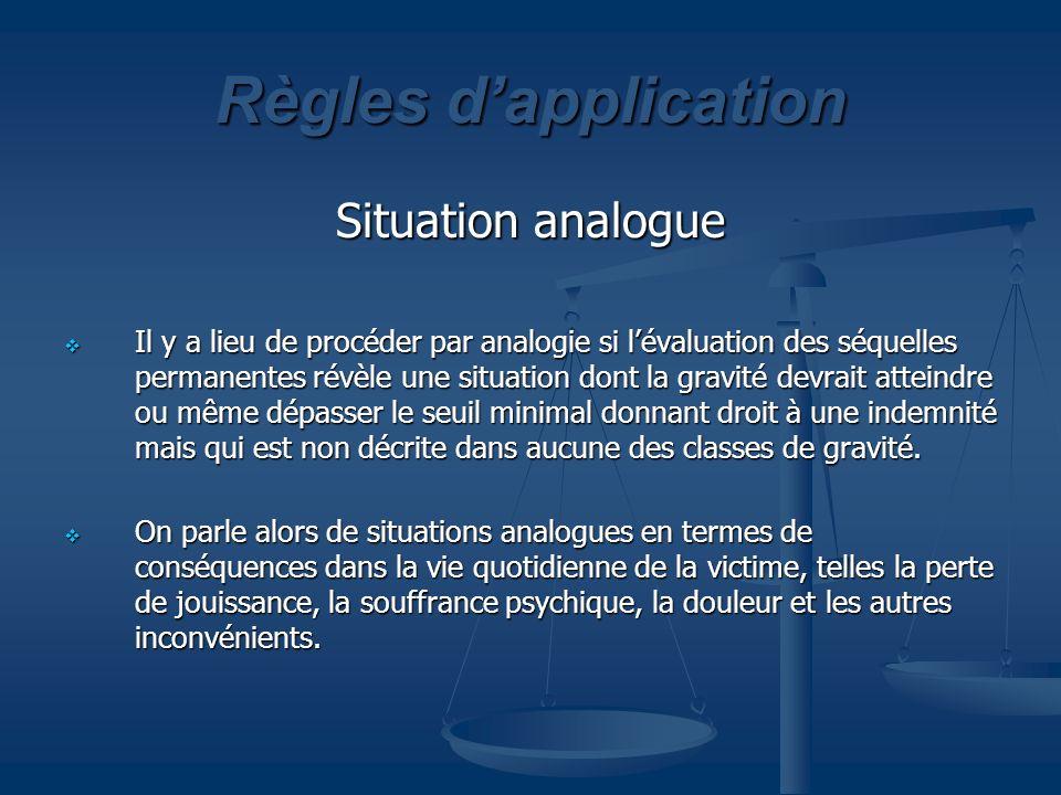 Règles dapplication Situation analogue Il y a lieu de procéder par analogie si lévaluation des séquelles permanentes révèle une situation dont la grav