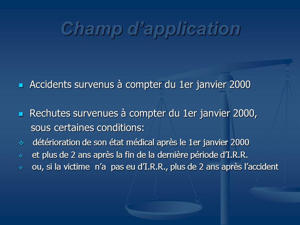 Champ dapplication Accidents survenus à compter du 1er janvier 2000 Accidents survenus à compter du 1er janvier 2000 Rechutes survenues à compter du 1