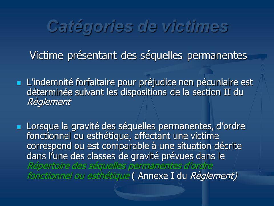 Classe B à E $ Section III du Règlement Répertoire des blessures (Annexe II) Classe A Victime sans séquelle permanente $ selon barème Tableau 1